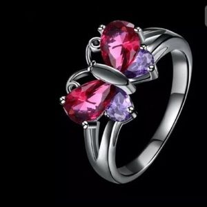 Cute red & purple butterfly ring